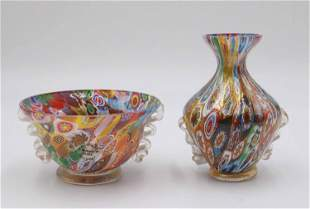 Petite Polychrome Milifori Vase and Bowl