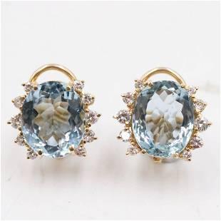 Pair of Topaz and 14K Clip Earrings
