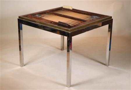 Brass and Chrome Flip Top Backgammon Table
