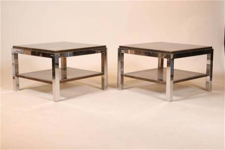Pair of Brass and Chrome Glass Top Tables