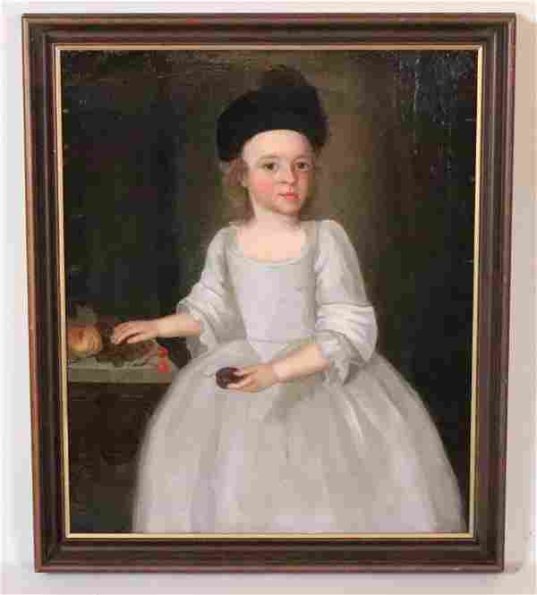 Portrait of a Young Child in a Bonnet with Fruit
