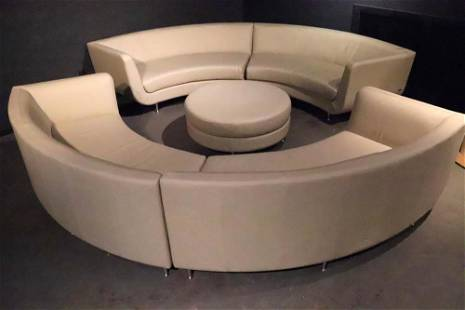 Five-Piece American Leather Sectional and Ottoman