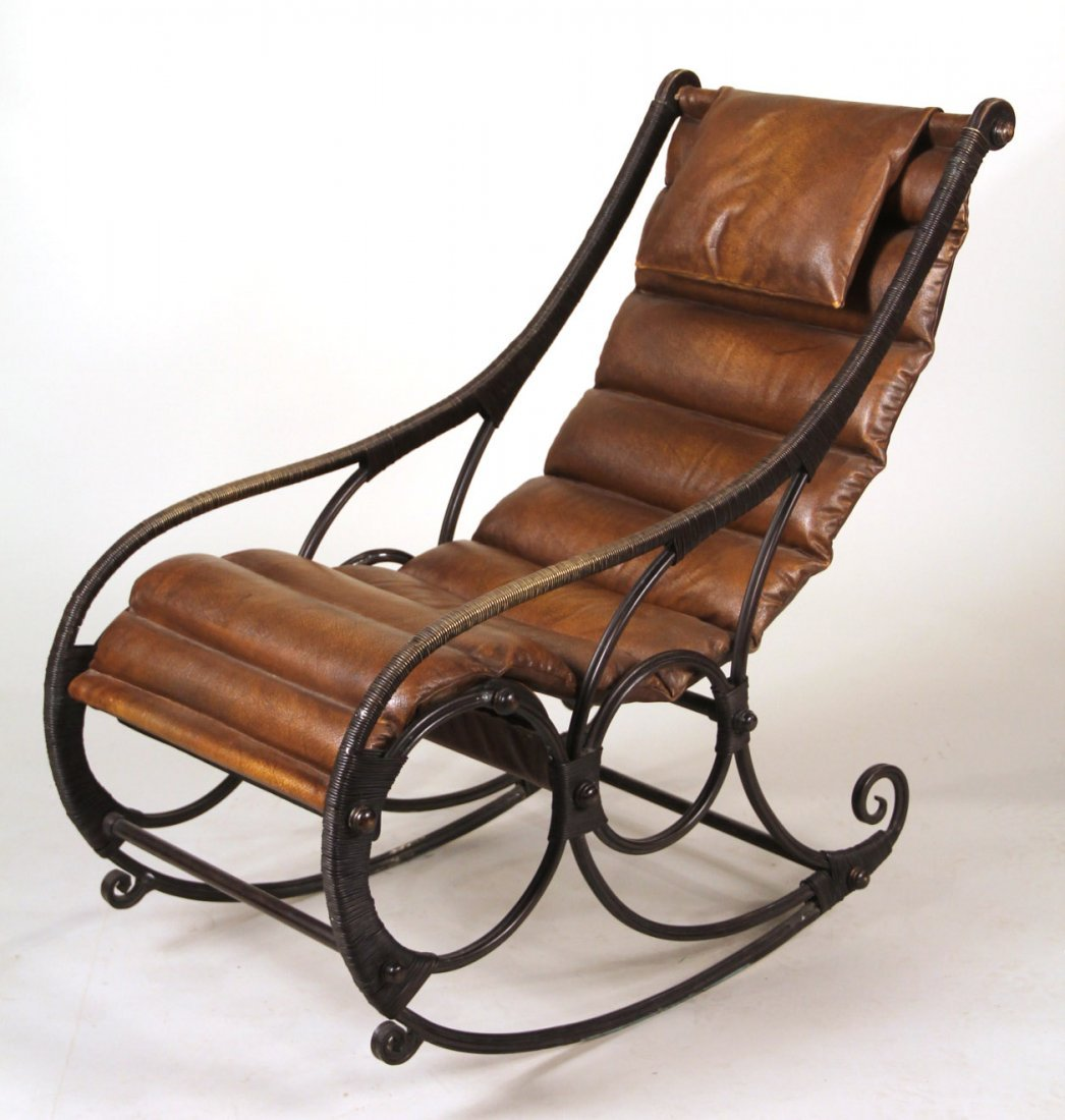 and Leather Sling Back Rocking Chair