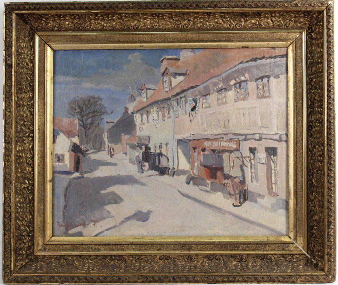 Oil on Canvas, Village Scene, Aage Fredricksen
