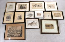 Three Genre Scene Etchings, Signed Illegibly