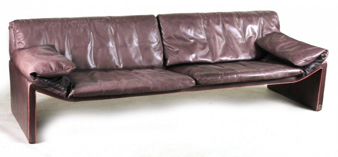 Etienne Aigner Black Leather Sofa