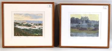 Two Woodcut Prints Gordon Mortensen