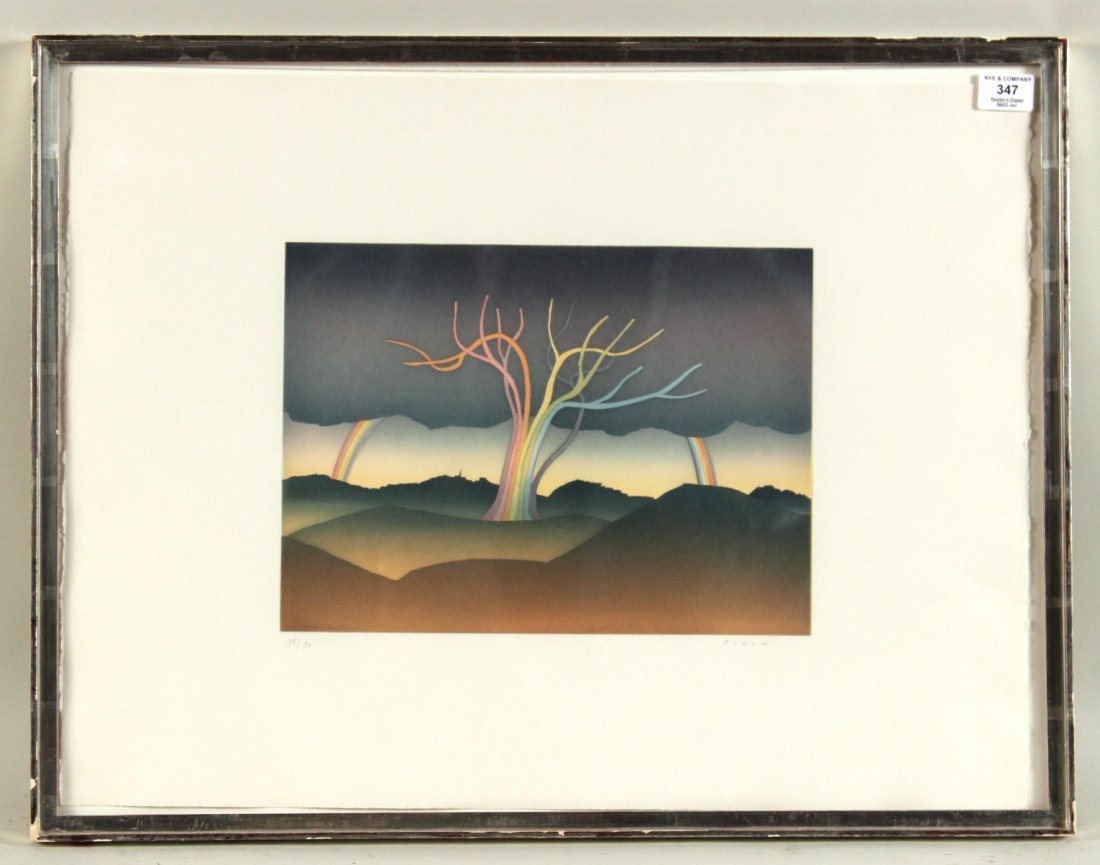 "Lithograph, ""Over the Rainbow,"" Jean-Michel Folon"