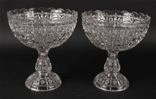 Pair of Colorless Glass Compote Dishes