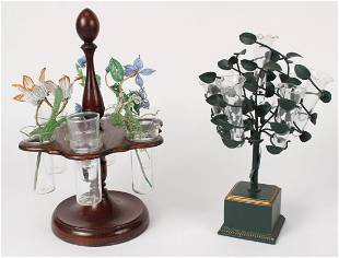 Green Patinated Metal and Glass Epergne