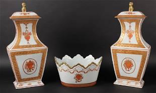 Pair of Mottahedeh Design Porcelain Covered Jars