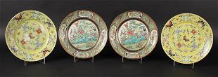 Pair of Yellow Famille Rose Porcelain Plates