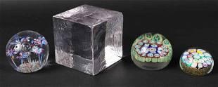 Three Art Glass Paper Weights