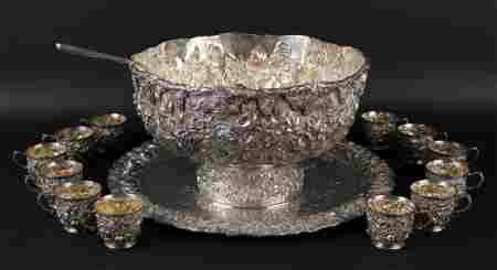 Hennegen Bates Co. Sterling Silver Punch Bowl Set