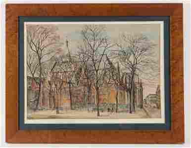Watercolor, Church Scene, Maurice Prendergast