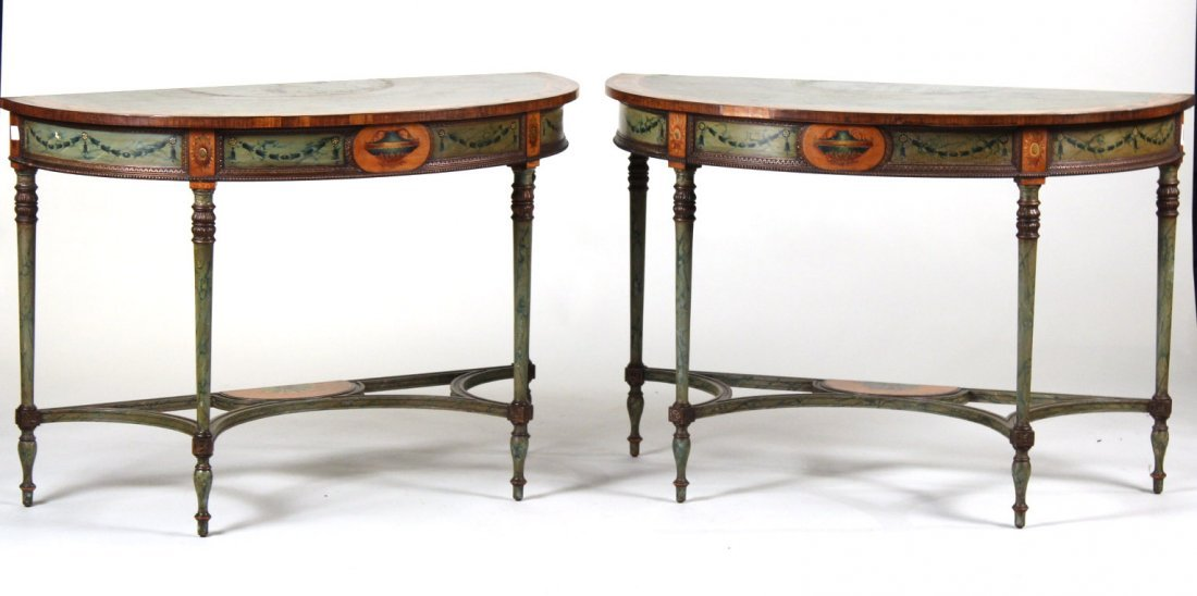 Pair of George III Style Demi-Lune Pier Tables