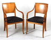 Pair of Neoclassical Style Fruitwood Armchairs