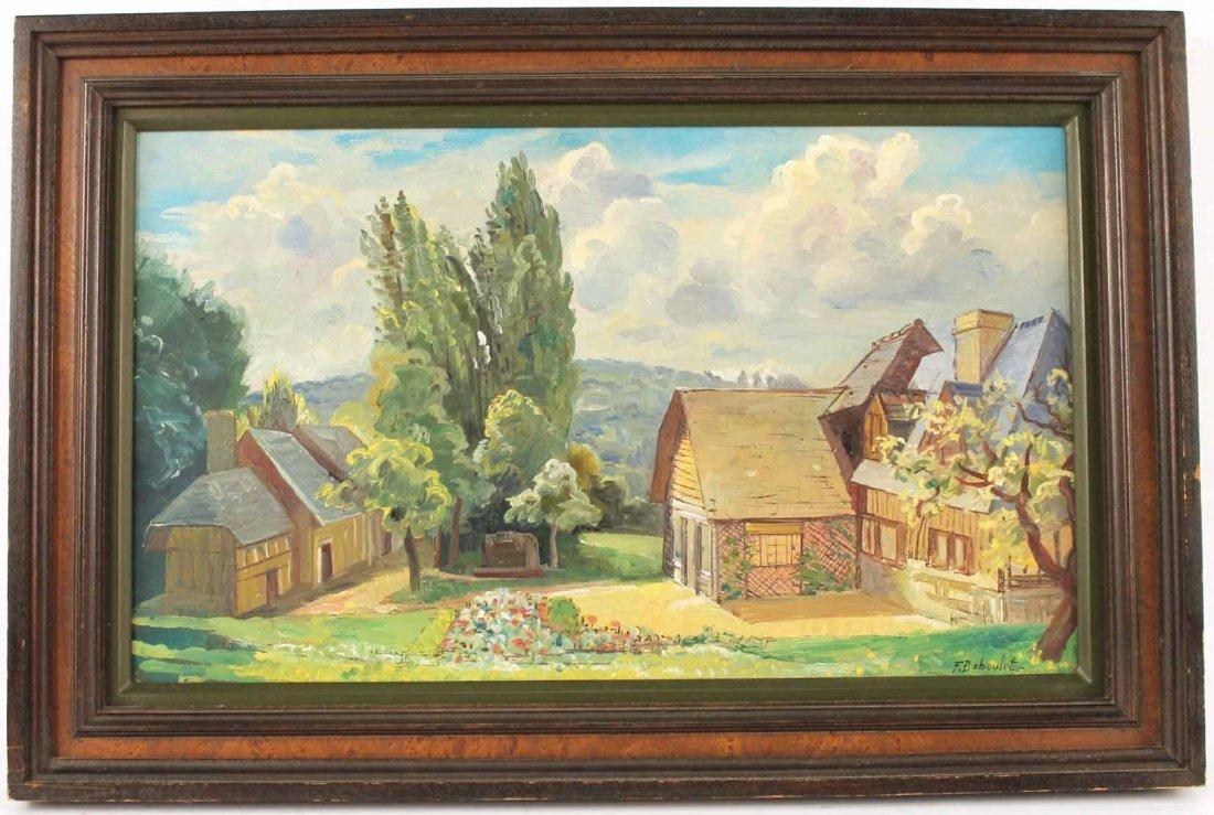 Oil on Canvas, French Village, Francois Baboulet