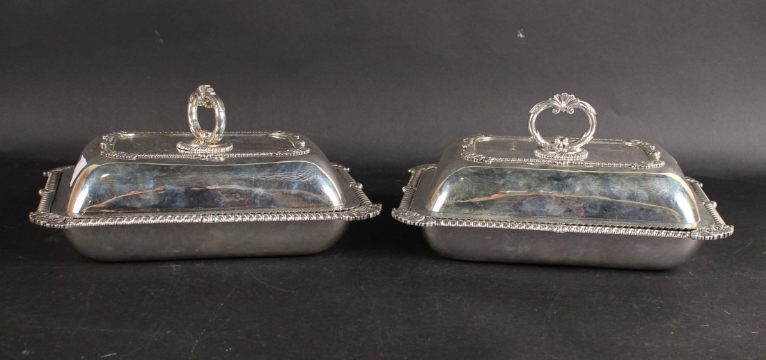 Pair of Georgian Silver Covered Entree Dishes
