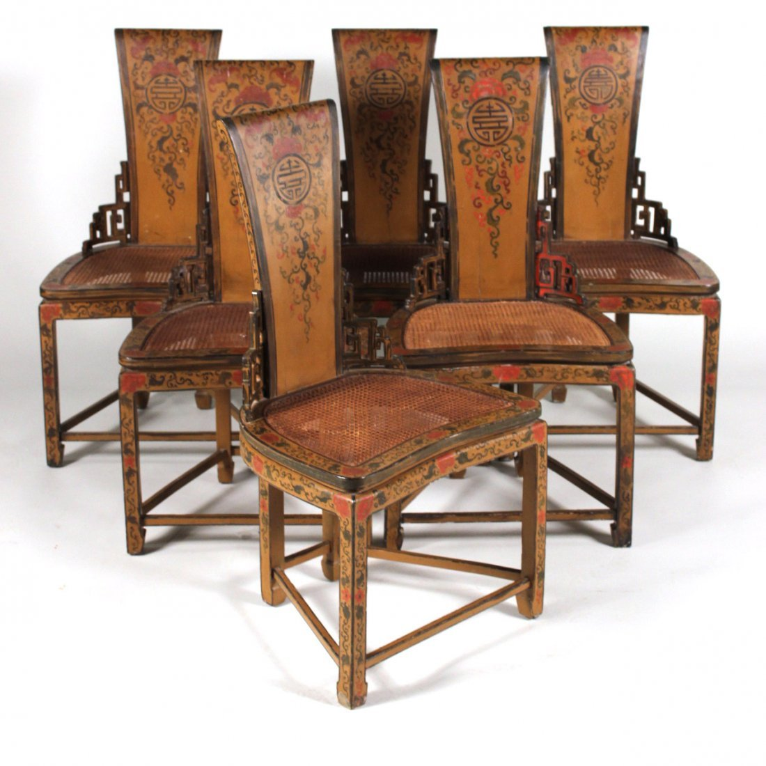 Six Chinoiserie Decorated Armless Chairs