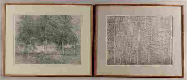 Two Etchings, Trees, Richard Zeimann
