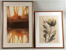 Two Etchings, Trees and Flowers