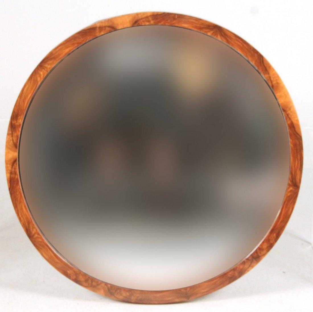 Art Deco Round Walnut Mirror
