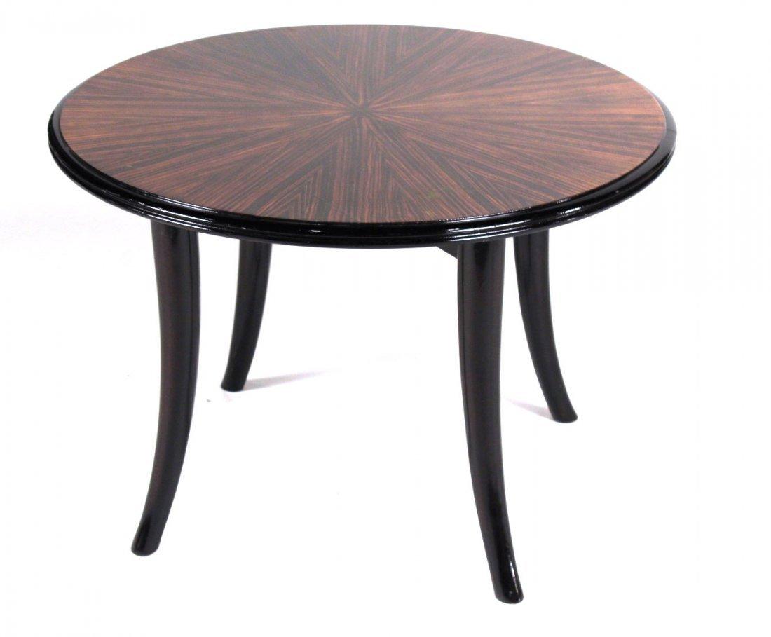 Art Deco Part-Ebonized Zebrawood Table