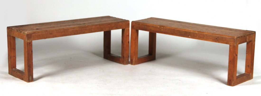Two Stained Pine Benches