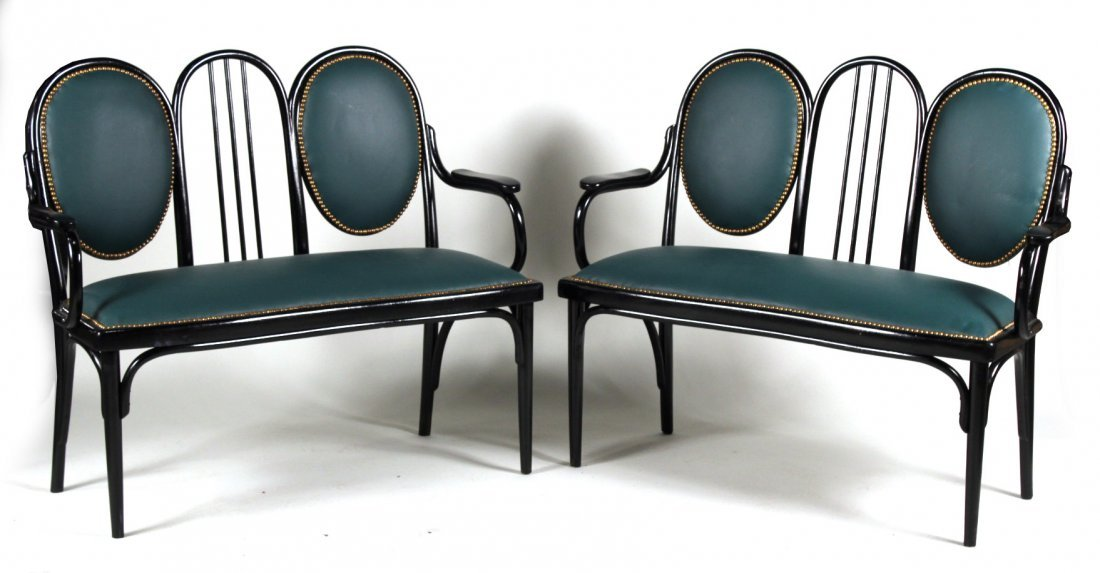 Pair of Thonet Style Black-Painted Benches