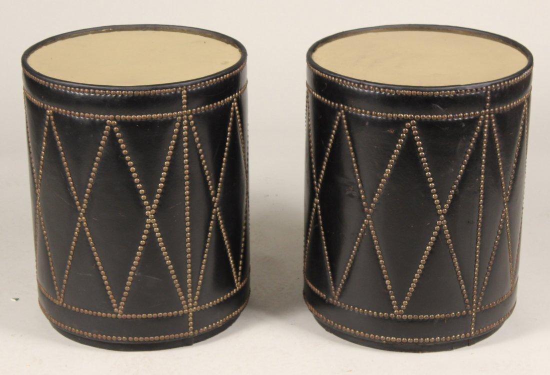 Pair of Leather-and-Brass Drum-Form Tables