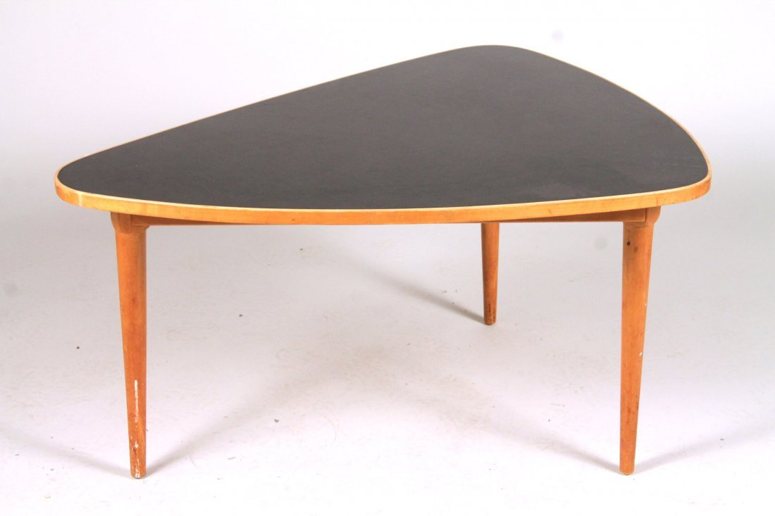 Modern Black-Lacquer and Maple Shaped Low Table