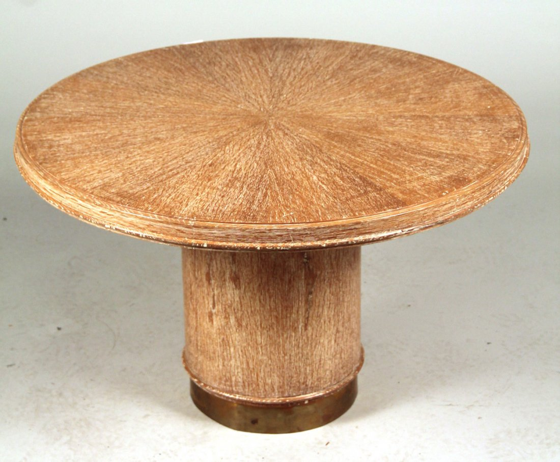 Contemporary Pickled Oak Round Table