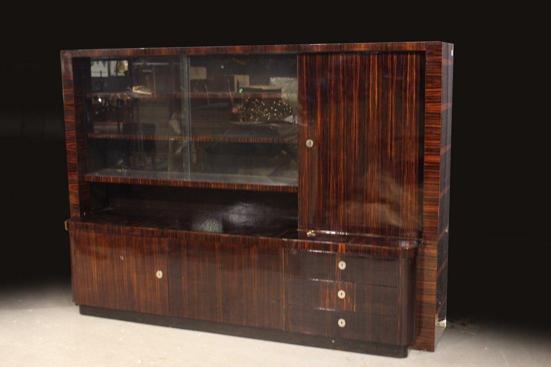 Art Deco Zebrawood Display Cabinet