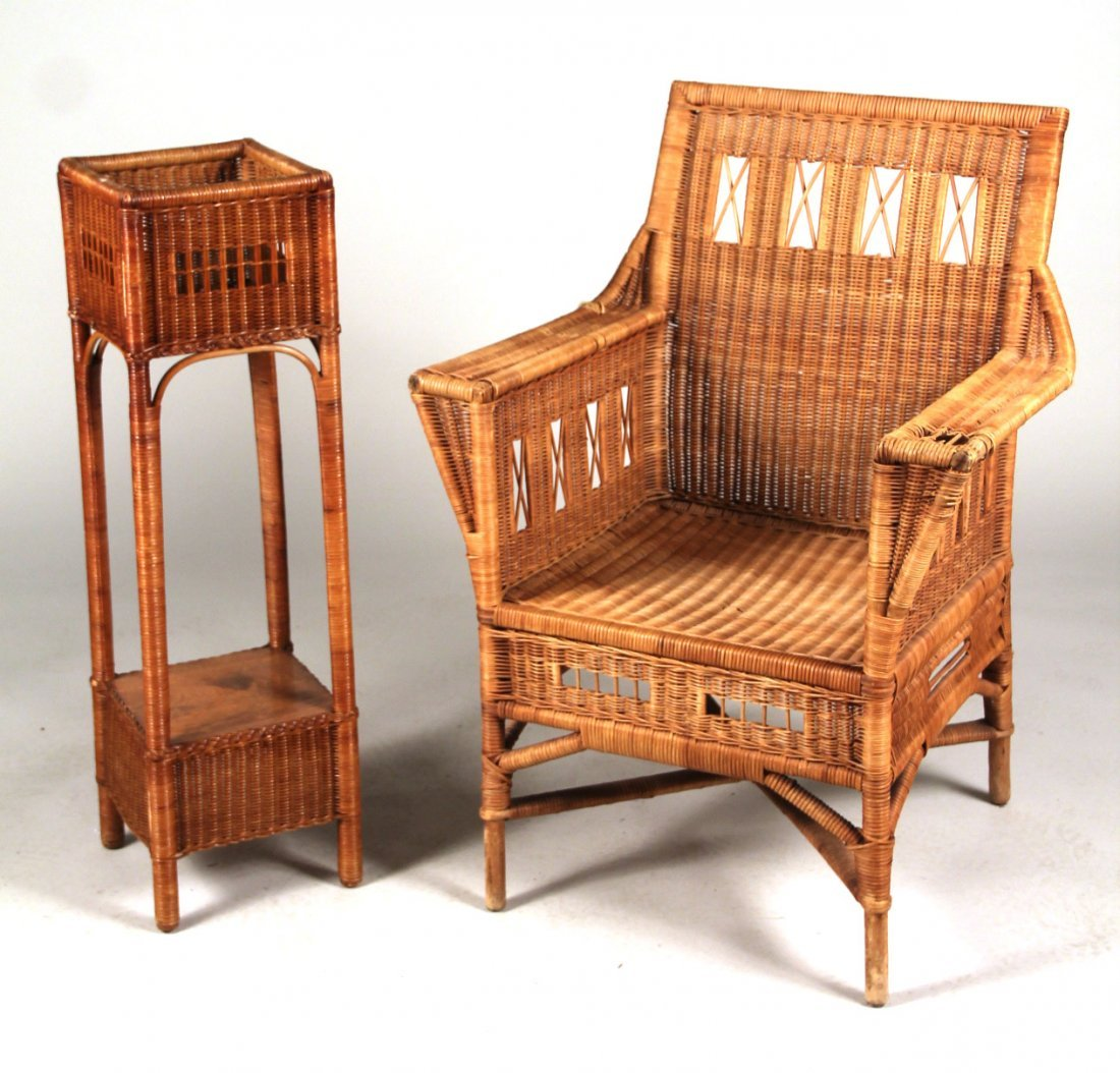 Wicker Armchair and Planter
