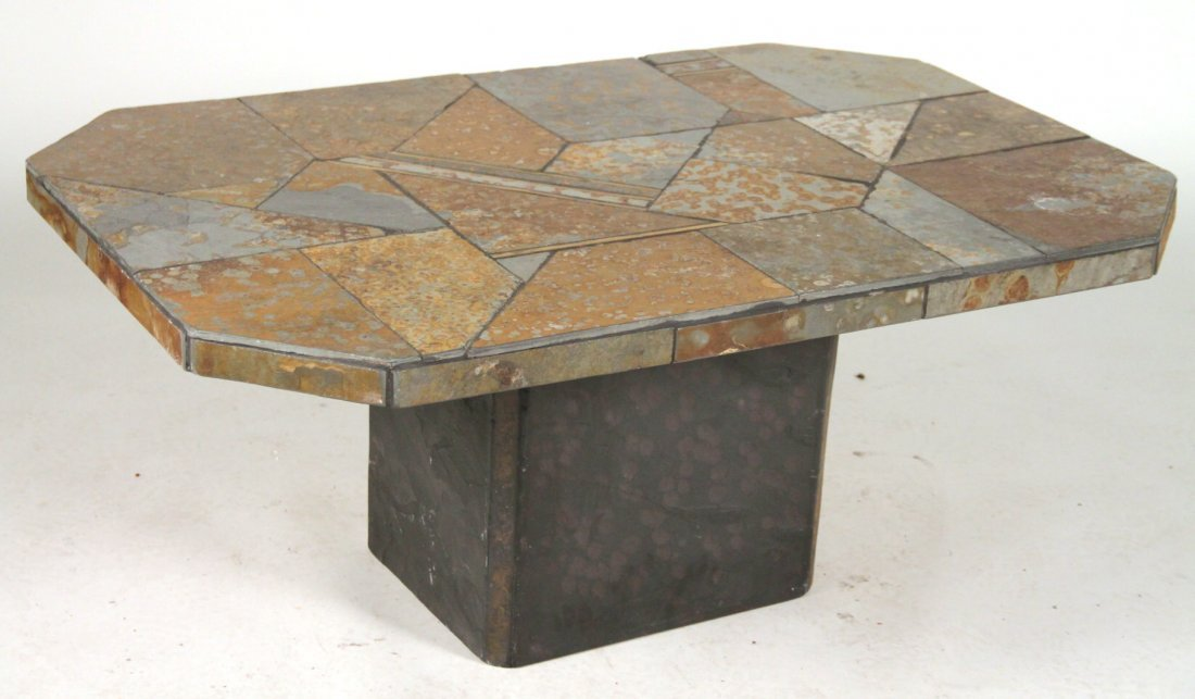 Inlaid Stone and Brass Low Center Table