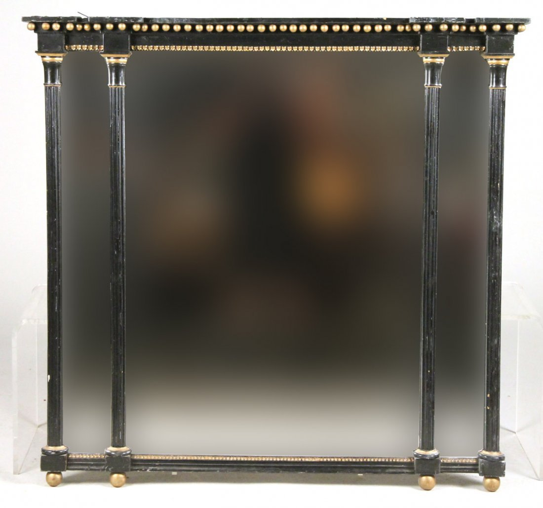 Parcel-Gilt Ebonized Tripartite Overmantel Mirror