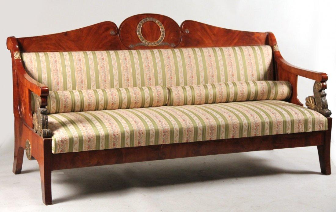Empire Parcel-Gilt Mahogany Sofa