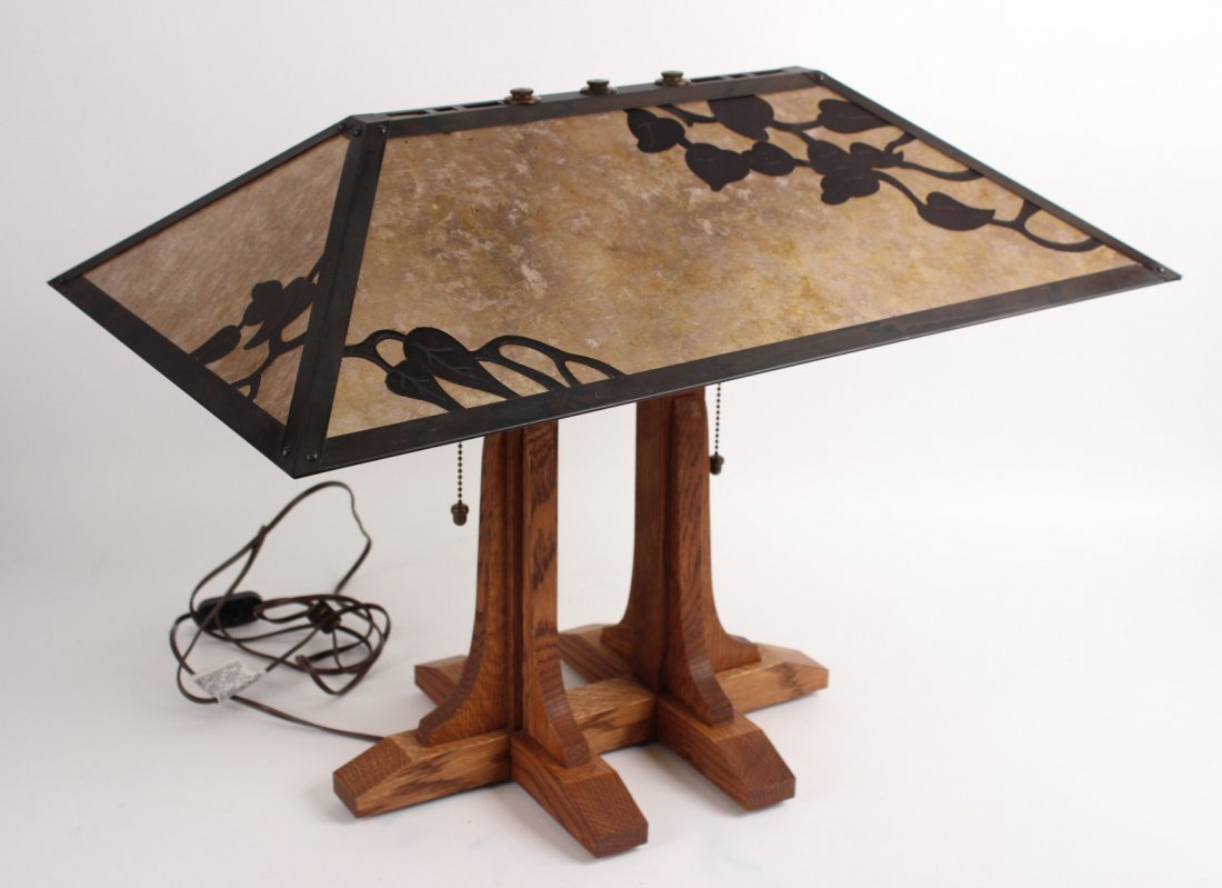 Mission Style Oak Library Table Lamp