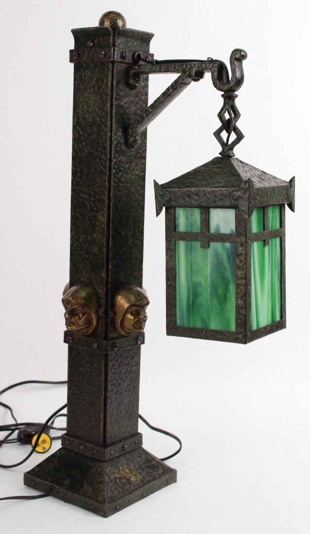 Arts and Crafts Style Patinated Metal Table Lamp
