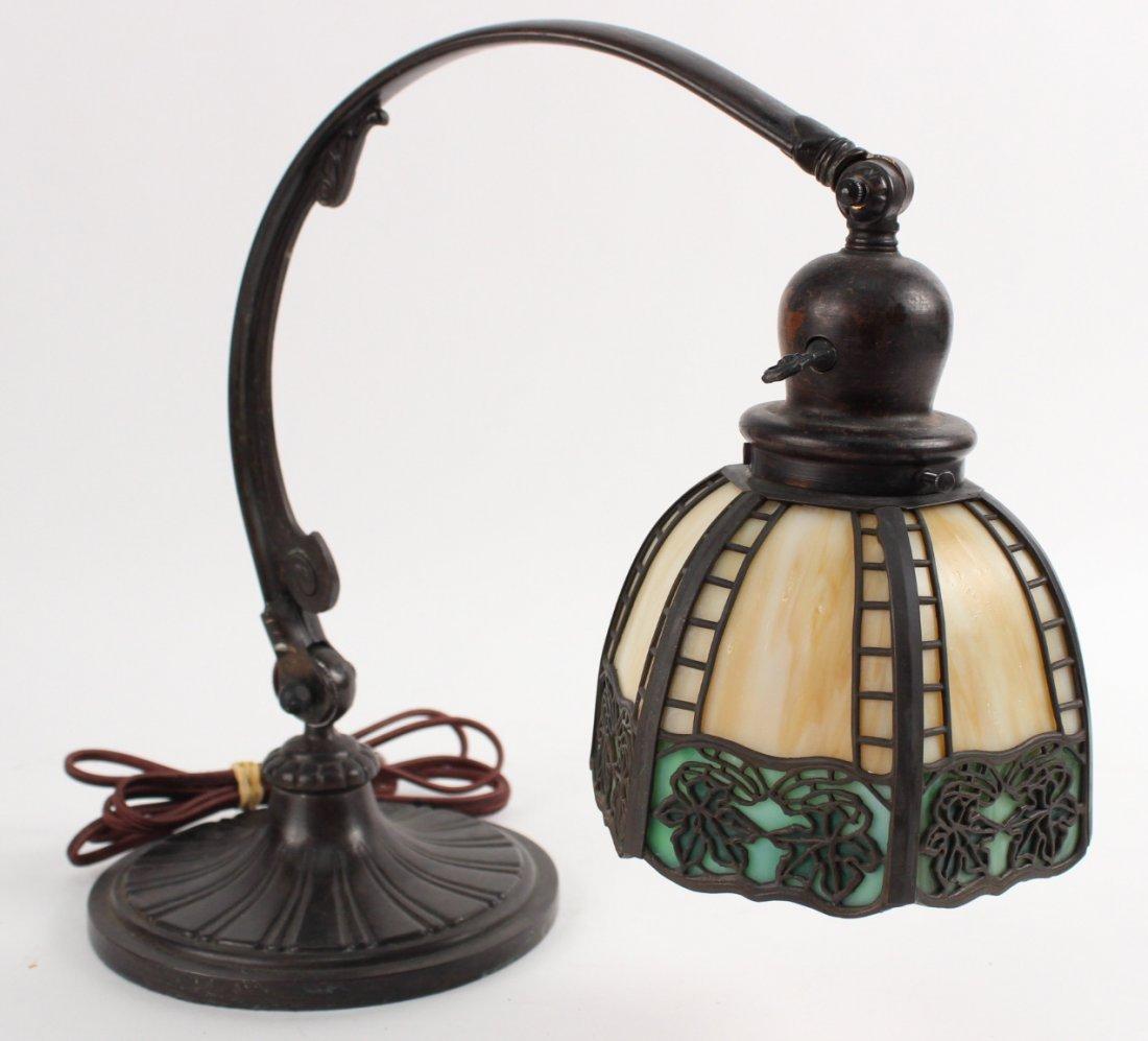 Handel Bronze and Slag Glass Desk Lamp