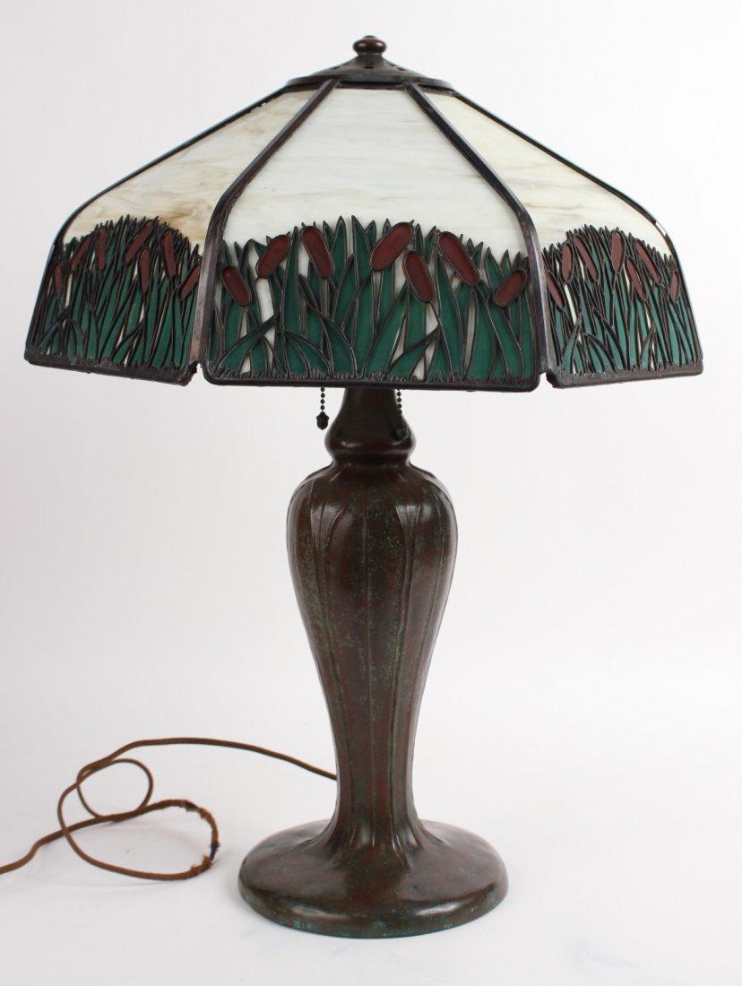 Handel Bronze and Slag Glass Table Lamp