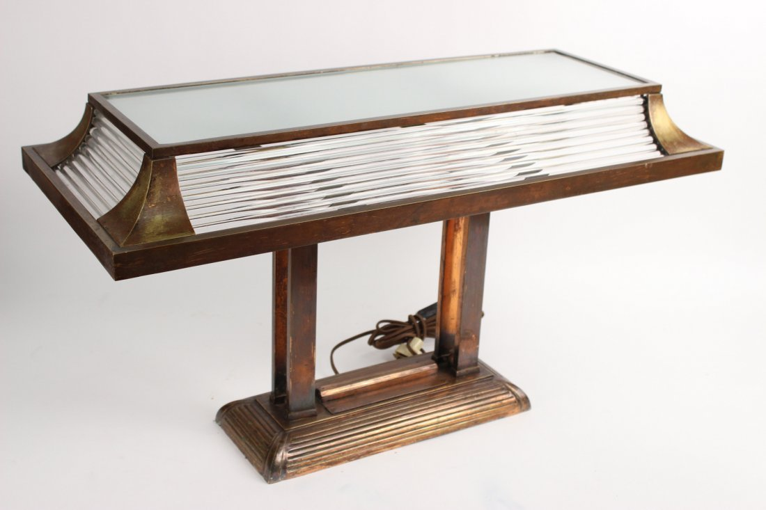 Arts & Crafts Style Bronze and Glass Desk Lamp
