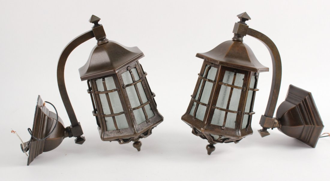 Pair of Handel Bronze and Glass Wall Sconces