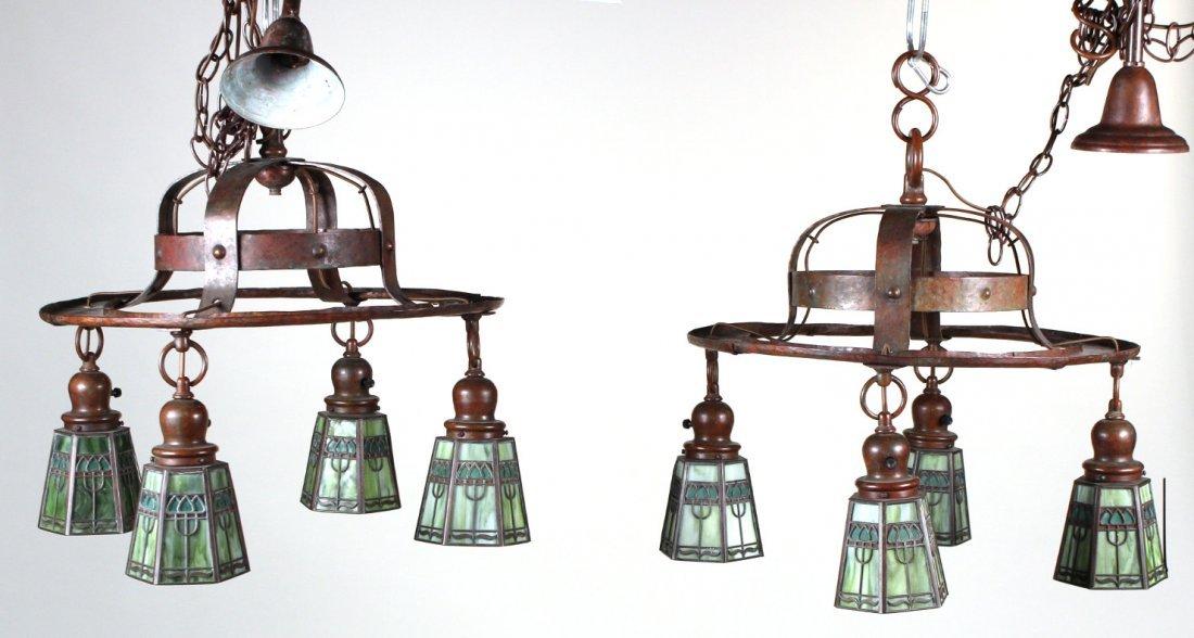 Pair of Handel Bronze and Glass Ceiling Fixtures