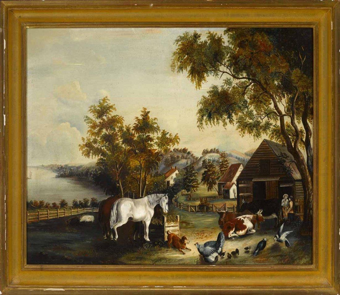Oil on Canvas, Barnyard Scene