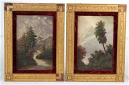 Two Oils on Canvas, Landscapes with Trees