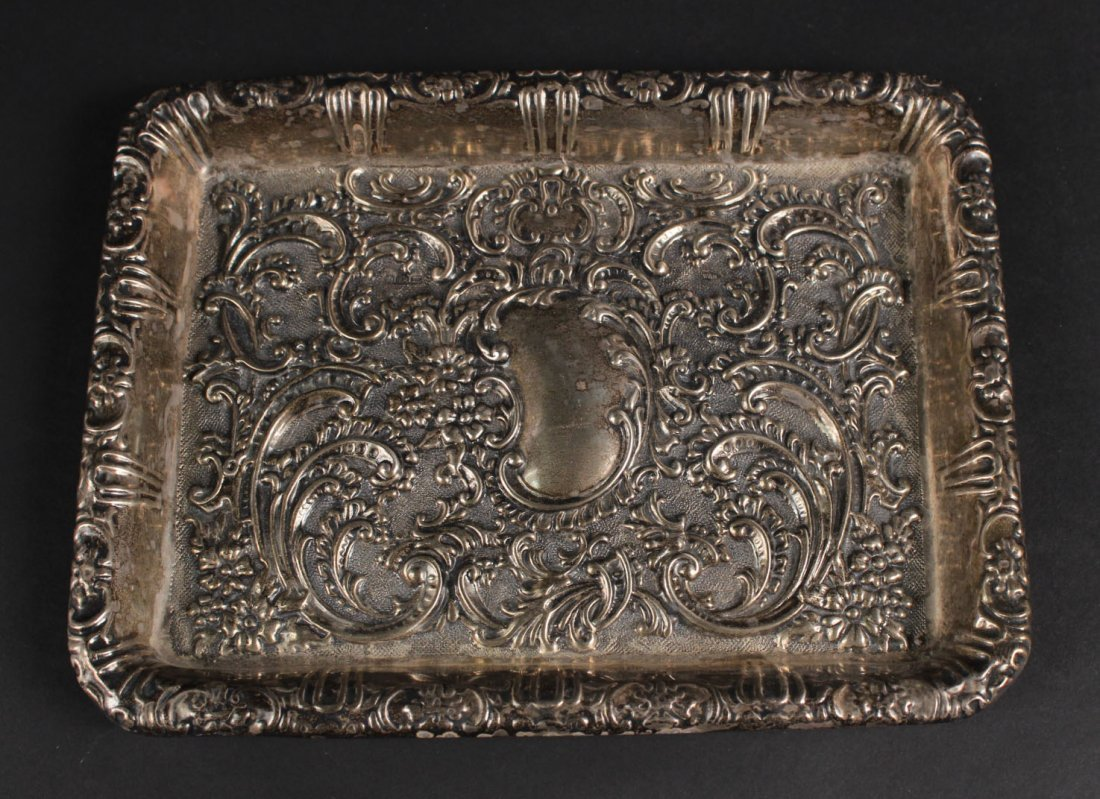 English Silver Heavily Chased Tray