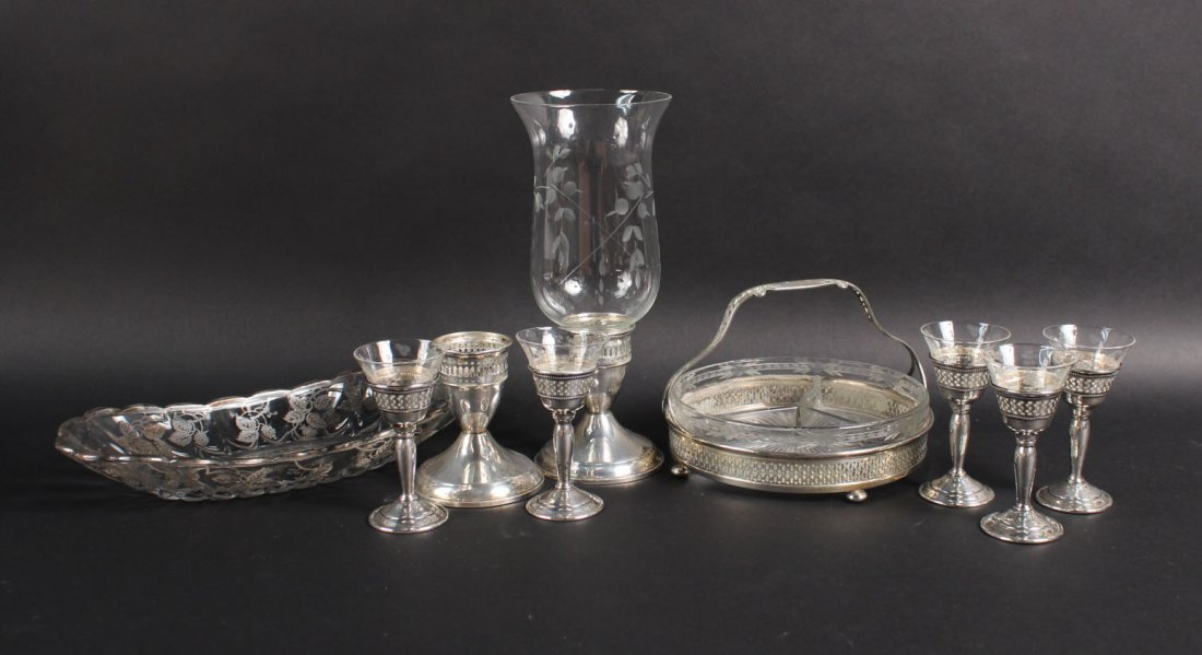 Group of Sterling Silver and Glass Table Items