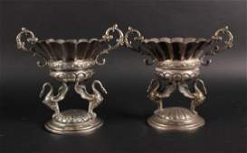 Pair of Ornate Silver Plated Footed Bowls